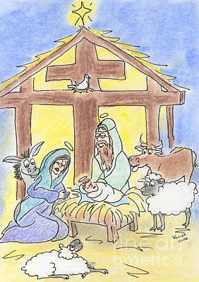 Drawing - Nativity by Vonda Lawson-Rosa