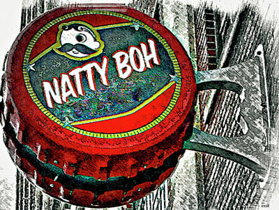 National Bohemian Beer Photograph - Natty Boh Bottle Cap Sign, Canton, Baltimore by Chet Dembeck