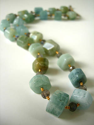 Adove Jewelry - Natural Aqua Marine Beryls And Labradorite Necklace by Adove  Fine Jewelry