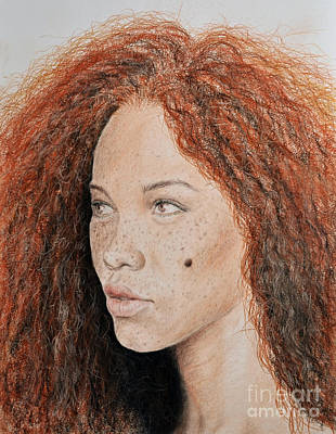Mixed Media - Natural Beauty With Red Hair  by Jim Fitzpatrick