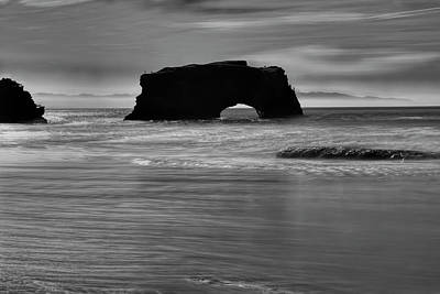 Photograph - Natural Bridges State Beach Water B/w by Wes Jimerson