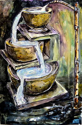 Bamboo House Painting - Natural Fountain And Bamboo Faucet  by Pradeep Gautam