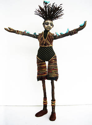 Mixed Media - Natural Friends - Handmade Art Doll Sculpture by Linda Apple