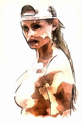 Digital Art - Natural Girl In Cap by Mario Carini