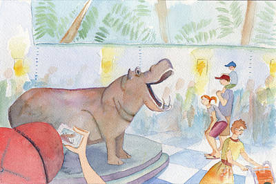 Zoo Painting - Natural History Hippo by Kristy Lankford