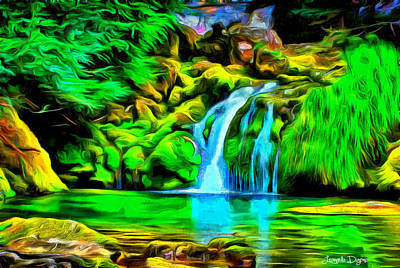 Waterfall Digital Art - Natural Paradise - Da by Leonardo Digenio