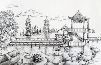 Lilly Pond Drawing - Natural Scenery In China by Boya L