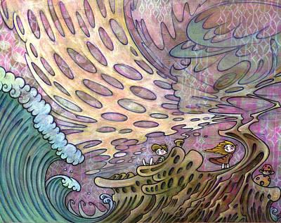Art Print featuring the painting Nature And Civilizatio by Kaori Hamura Long