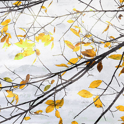 Photograph - nature art Autumn Yellow Leaves by Ann Powell