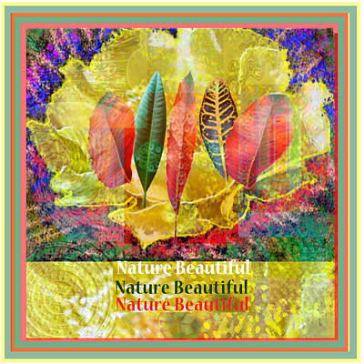 Mixed Media - Nature Beautifuyl Digital Fantasy Art Golden Flower Colorful Leaf Collection  by Navin Joshi