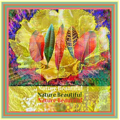 Popular Mixed Media - Nature Beautifuyl Digital Fantasy Art Golden Flower Colorful Leaf Collection  by Navin Joshi