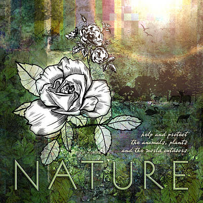 Greenery Digital Art - Nature by Evie Cook