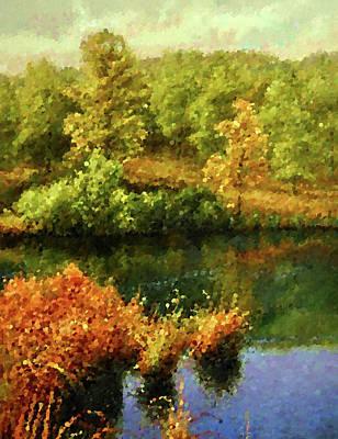 Autumn Landscape Drawing - Nature Landscape Lighting by Edna Wallen
