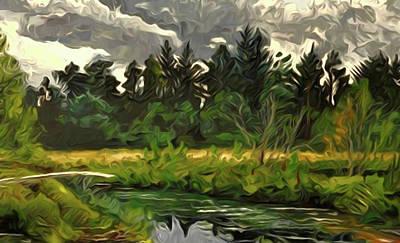 Autumn Landscape Drawing - Nature Landscape Wall Art by Edna Wallen