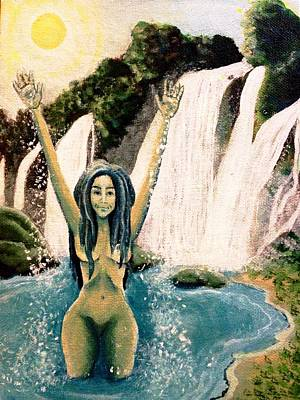 Painting - Nature Nymph In Waterfall In Jungle Landscape by Katerina Roy