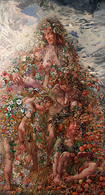 Art Print featuring the painting Nature Or Abundance by Leon Frederic