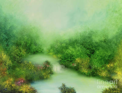Waterfalls Painting - Nature Symphony by Hannibal Mane