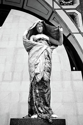 Photograph - Nature Unveiling Herself By Ernest Barrias Displayed At Orsay Museum Paris France Black And White by Shawn O'Brien