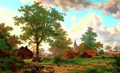 Autumn Landscape Drawing - Nature Work Landscape by Edna Wallen