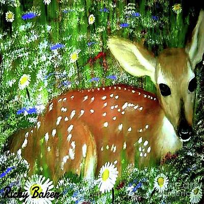 Whitetail Fawn Painting - Natures Baby by Ricky Baker