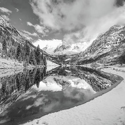 Photograph - Natures Divine Canvas - Maroon Bells Aspen Colorado 1x1 Square Bw by Gregory Ballos