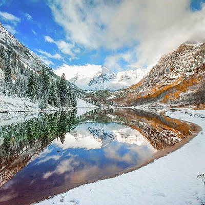 Photograph - Natures Divine Canvas - Maroon Bells Aspen Colorado 1x1 Square by Gregory Ballos