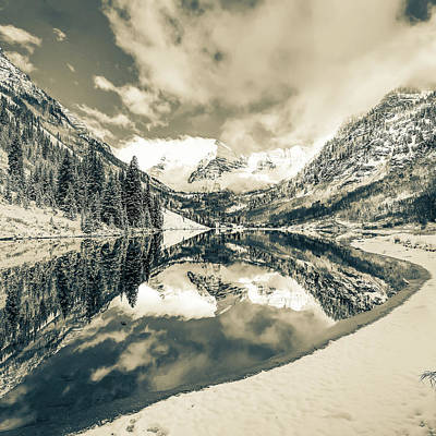 Photograph - Natures Divine Canvas - Maroon Bells Aspen Colorado 1x1 Square Sepia by Gregory Ballos