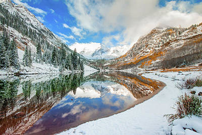 Photograph - Natures Divine Canvas - Maroon Bells Aspen Colorado by Gregory Ballos