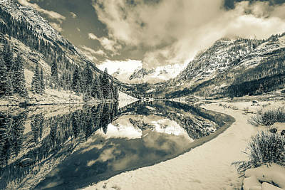 Photograph - Natures Divine Canvas - Maroon Bells Aspen Colorado - Sepia Edition by Gregory Ballos