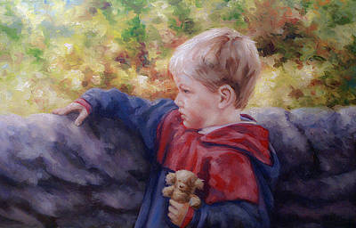 Boy With Teddy Painting - Nature's Light  by Laura Ury