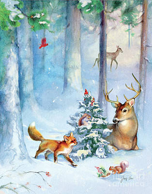 Christmas Squirrels Wall Art - Painting - Nature's Season by Tracy Herrmann