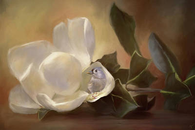 Titmouse Painting - Natures Treasure Chest by Jai Johnson