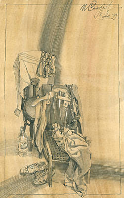 Still Life Drawings - Naturmort with Clothes on Chair 1 by Igor Sakurov