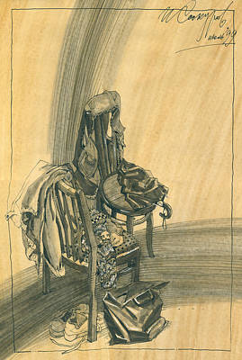 Still Life Drawings - Naturmort with Clothes on Chair by Igor Sakurov
