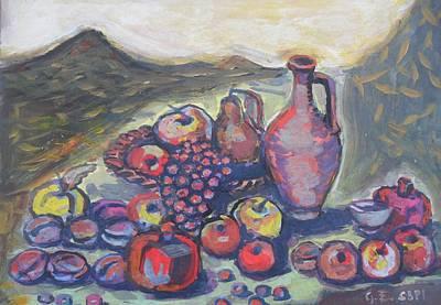 Naturmort Painting - Naturmort With Fruits by Edvard FineArt