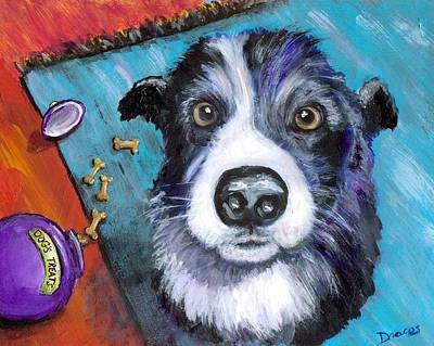 Naughty Dog Painting - Naughty Border Collie by Dottie Dracos