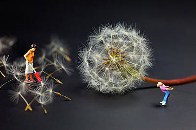Painting - Naughty Girl Playing Dandelion Little People Big World by Paul Ge