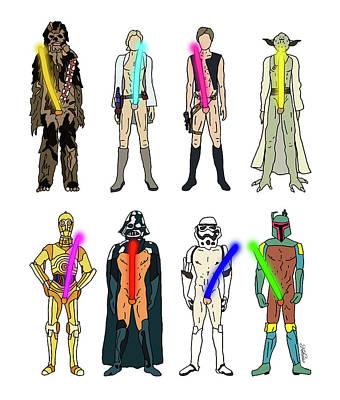 Gay Fantasy Drawing - Naughty Lightsabers by Notsniw Art