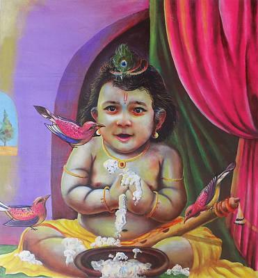 Mahabharata Painting - Naughty Little Baby Krishna  by Arun Sivaprasad