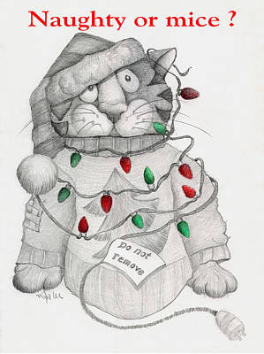 Drawing - Naughty Or Mice by Mary-Lee Sanders