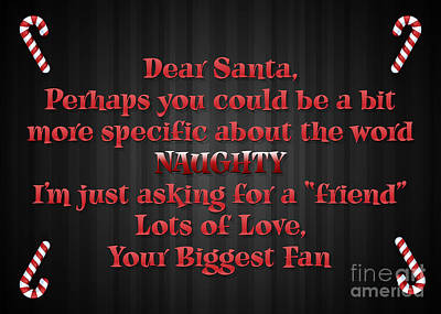 Digital Art - Naughty Santa Letter by JH Designs