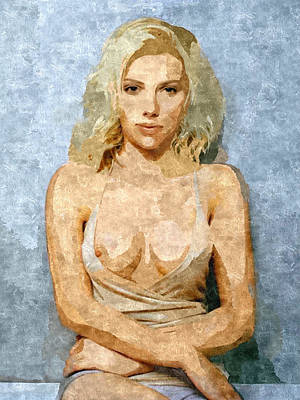 Submissive Women Art Painting - Naughty Scarlett Nude by BDSM love