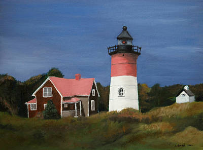 Cape Cod Painting - Nauset Lighthouse by John Small