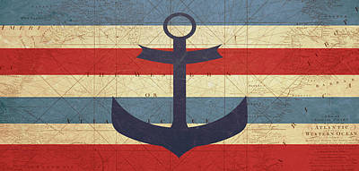 Vintage Map Digital Art - Nautical Anchor  by Erin Cadigan