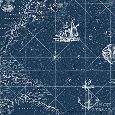 Digital Art - Nautical Blues-d by Jean Plout