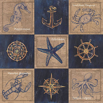 Sea Mixed Media - Nautical Burlap by Debbie DeWitt