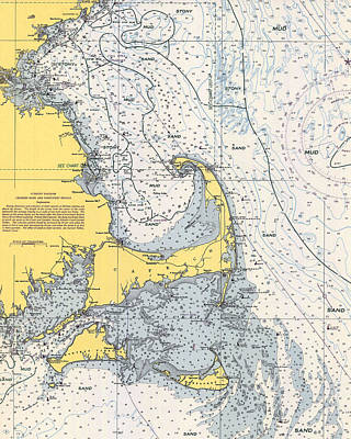 Nautical Chart Photograph - Nautical Chart Of Cape Cod 1945v by Paul and Janice Russell