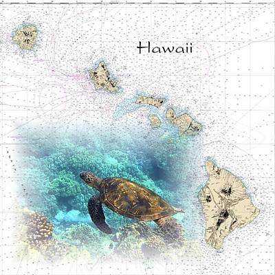 Digital Art - Nautical Hawaiian Islands by Florene Welebny
