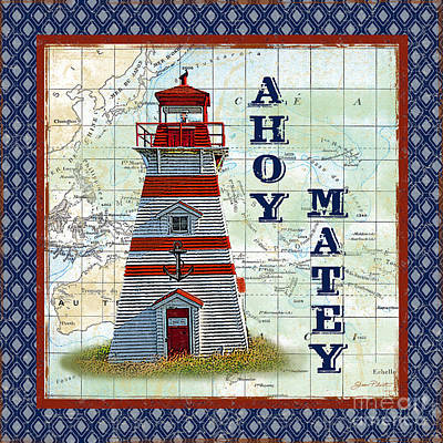 Typography Map Painting - Nautical Journey-jp3137 by Jean Plout