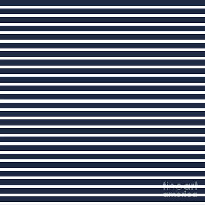 Digital Art - Nautical Navy And White Horizontal Stripes by Leah McPhail